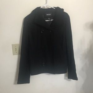 Black Button Up Peacoat